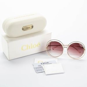 61383551aee Chloe Accessories - CHLOE Carlina Round Metal Wire Frame Sunglasses
